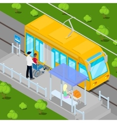 Tram driver helping disable man on wheelchair vector