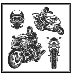 Biker riding a motorcycle set bikers event or vector
