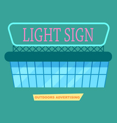 Advertising light sign on market poster vector