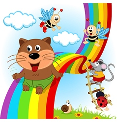 Animals and insects ride on rainbow vector