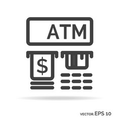 Atm outline icon black color vector