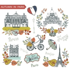 Autumn in parisfamous landmarks and floral vector