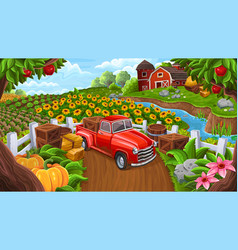Background with car in farm style vector