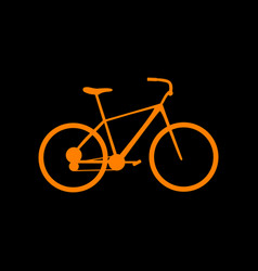 bicycle bike sign orange icon on black vector image
