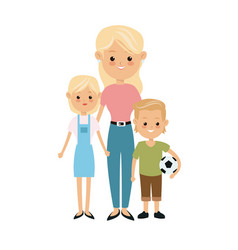 Blonde mother and son daughter with soccer ball vector