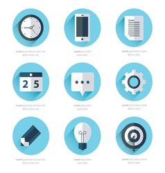 Business set of flat design icons blue color style vector