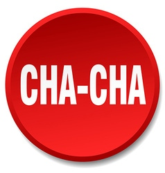 Cha-cha red round flat isolated push button vector