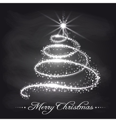 Christmas tree from stars on chalkboard vector image