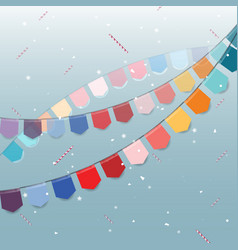 Colorful flags with star sticks and confetti vector