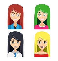Cute of beautiful young girls with various wears vector