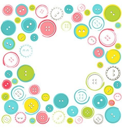 Decorative frame with circle of buttons over white vector
