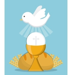 dove cup bread gold religion icon graphic vector image