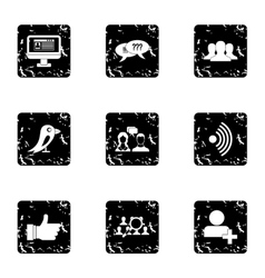 E-mail icons set grunge style vector image