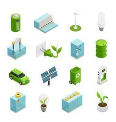 ecology energy isometric icons set vector image vector image