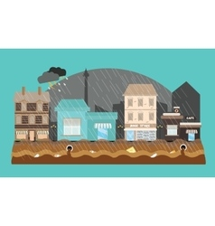 Flooding flooded store shop mall street town vector