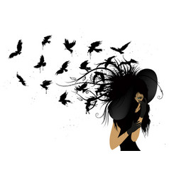 Flying birds from the head of a woman in black vector
