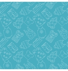 Hand-drawn seamless pattern of children cothes vector
