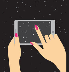 Hand holing smartphone touching screen hand of vector