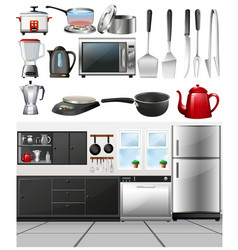 Kitchen room and different kitchen tools vector