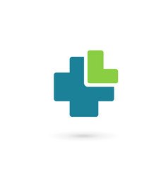 Letter l cross plus medical logo icon design vector