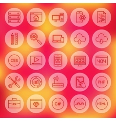 Line circle web coding icons vector