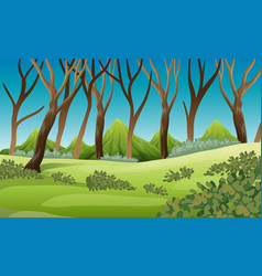 Nature scene with trees and mountains vector