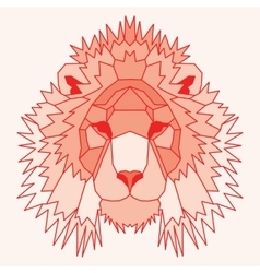 Orange low poly lined lion vector