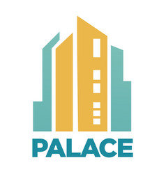 Palace hotel building flat icon for real vector