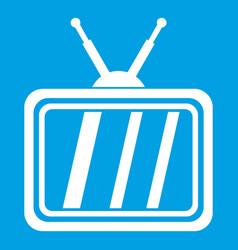 Retro tv icon white vector
