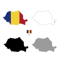 Romania country black silhouette and with flag on vector image