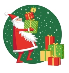 Santa claus with gift boxes vector