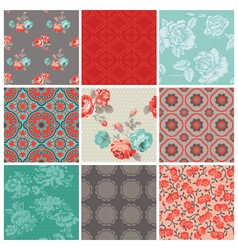 Seamless Vintage Flower Background Set vector image vector image