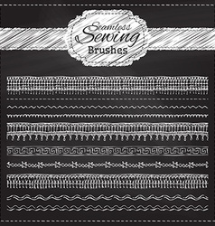 set of chalk sewing brushes vector image vector image