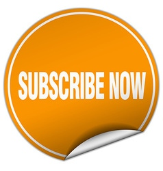 Subscribe now round orange sticker isolated on vector