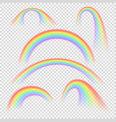 Summer realistic rainbow arches isolated vector
