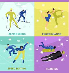Winter sports 2x2 design concept vector