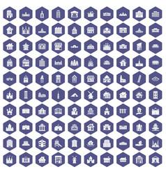 100 building icons hexagon purple vector