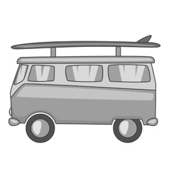 Bus with surfboard icon gray monochrome style vector image