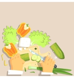 Hands Of Professional Cook Cutting Vegetable vector image