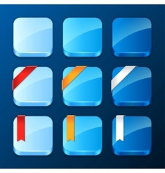 Set of the app icons with ribbons and banners vector image