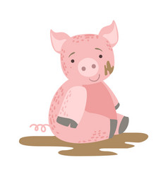 Pig in mud cute toy animal with detailed elements vector
