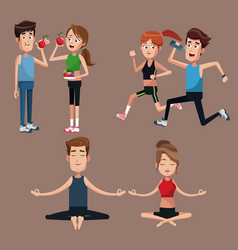 set couple sport healthy desihn vector image