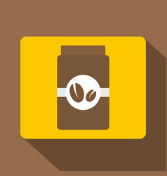 Brown coffee jar icon flat style vector