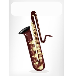 A musical bass saxophone with a white banner vector