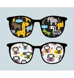 Retro sunglasses with cartoon animals reflection vector image