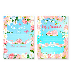 Summer season greeting card set with flower frame vector