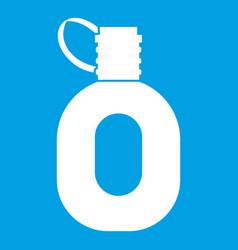 Tourist flask icon white vector