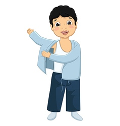 Boy wearing pajamas vector