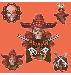 Skull in a mexican sombrero with chili vector