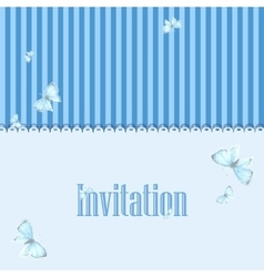 Vintage invitation card with blue butterfly vector
